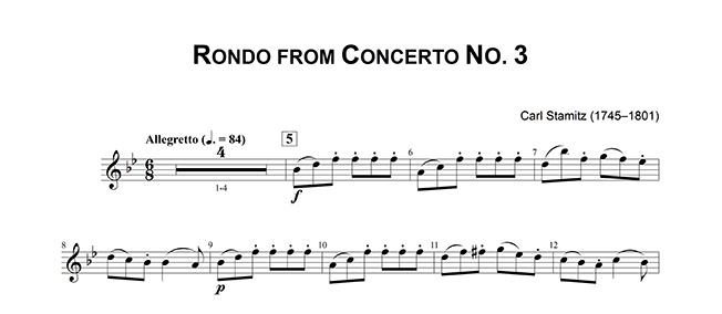Rondo for Concerto No. 3 by Carl Stamitz