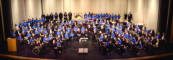 High School concert band ready play at a festival