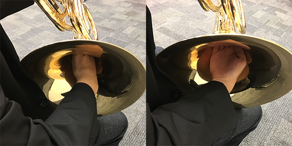 How to hold your hand in a french horn
