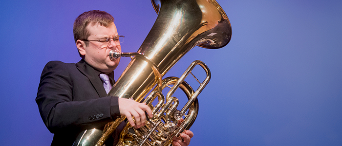 Paul Carlson playing tuba