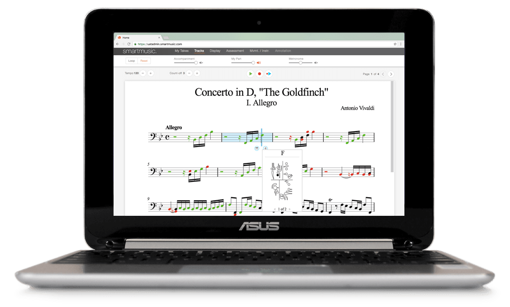 SmartMusic repertoire on a ChromeBook