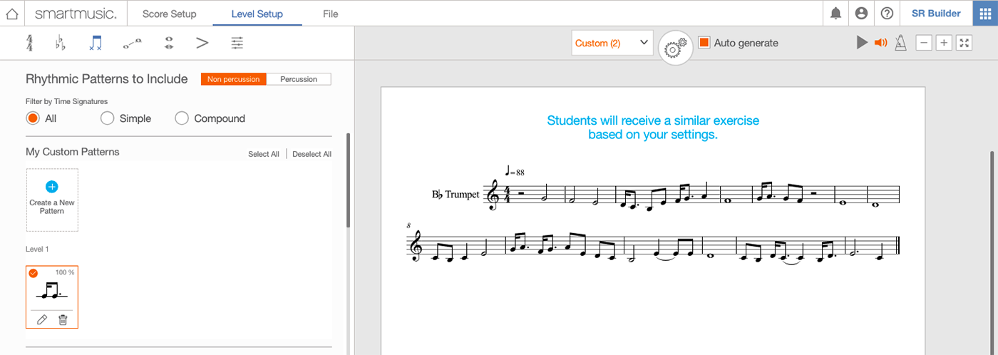 Customization and the Sight Reading Builder