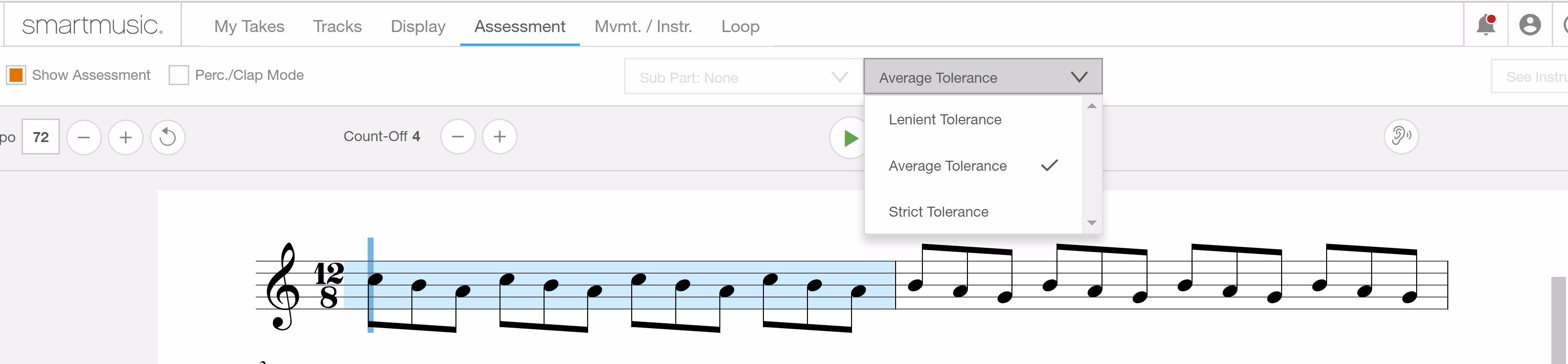 New: Three Levels of Assessment Tolerance in SmartMusic 2