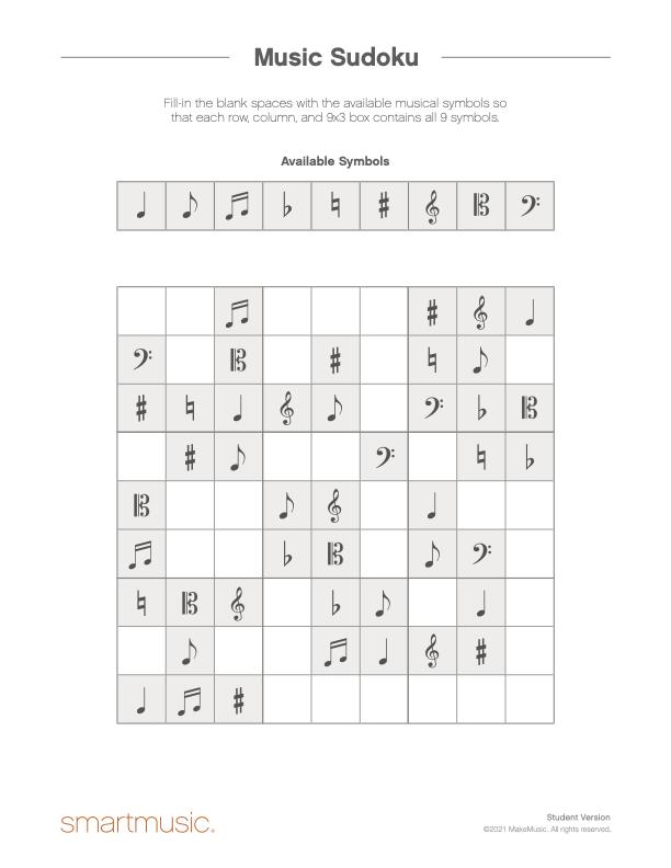 music symbol sudoku image